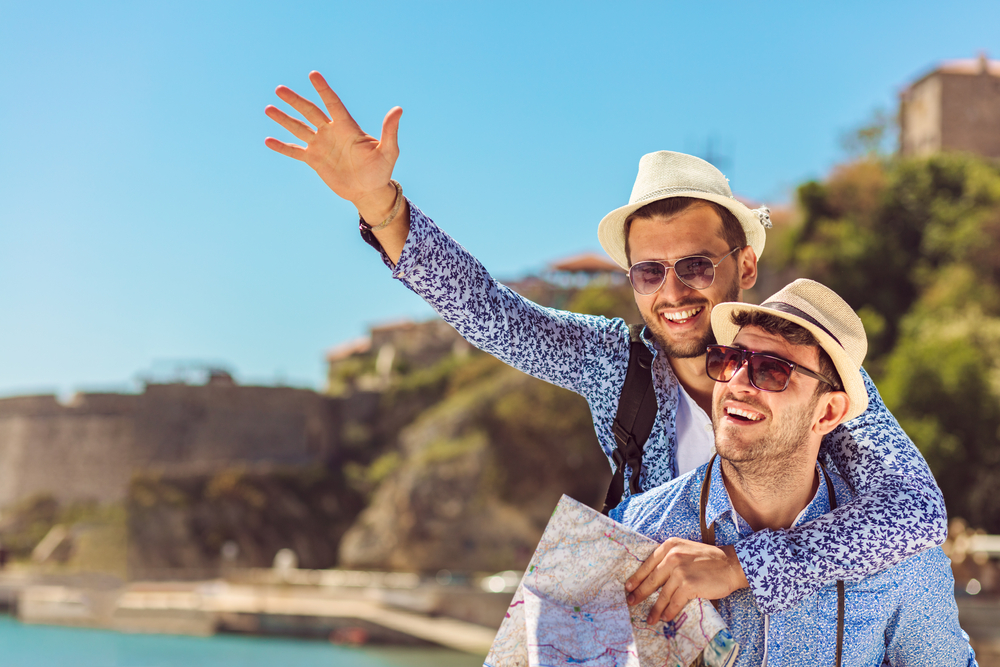 men on holiday after aesthetics treatments