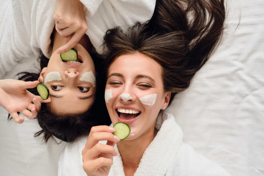 women treating their skin